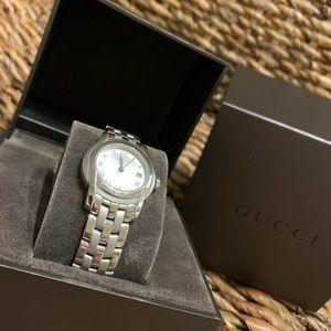 Classic Gucci Timepiece, Sterling Silver Women EUC